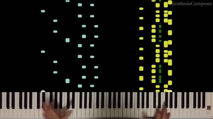 Peterson/Molina – A Little Jazz Excercise (Synthesia Piano Tutorial with hands)